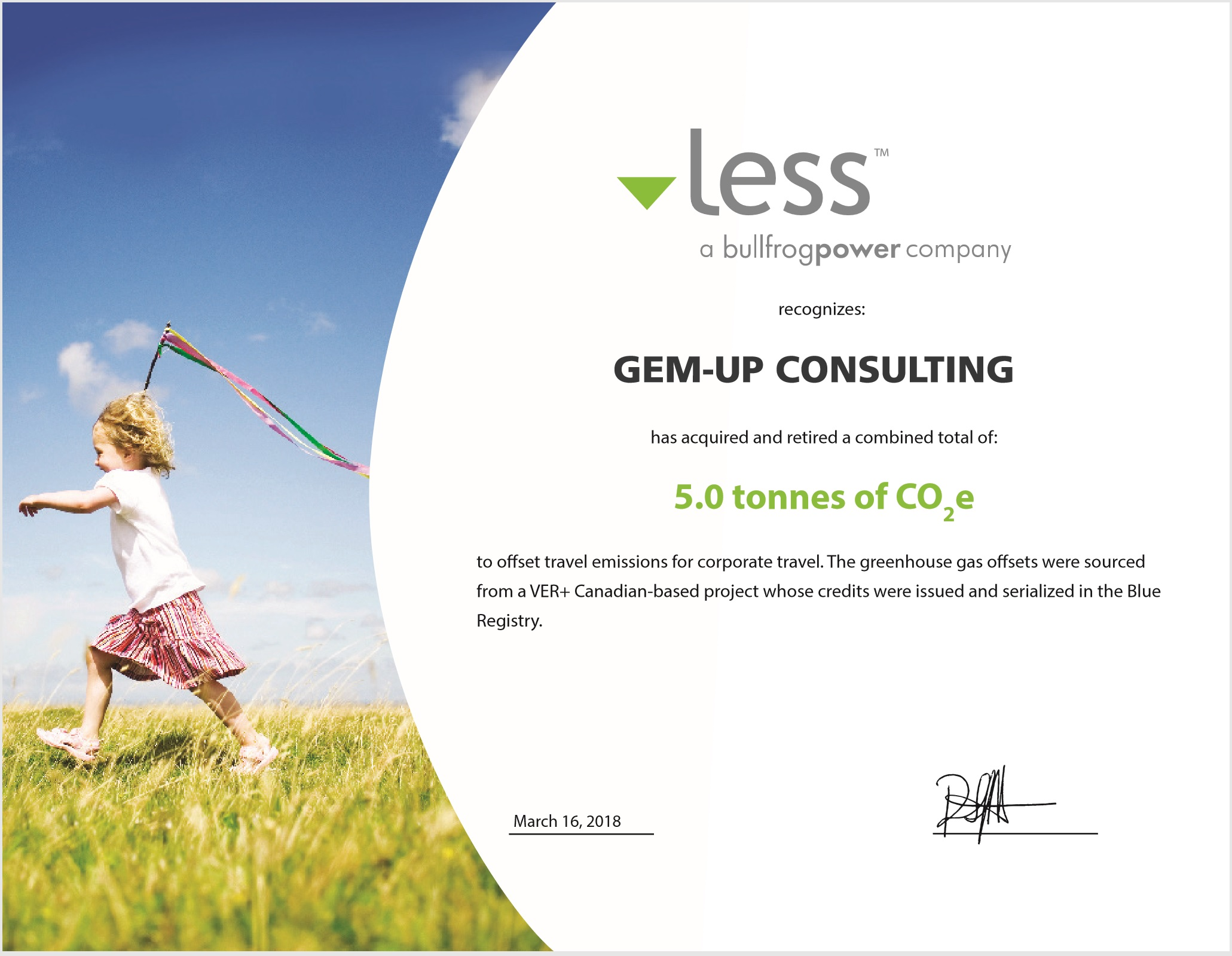 Another Carbon Offset Certificate to keep us at Carbon Neutrality